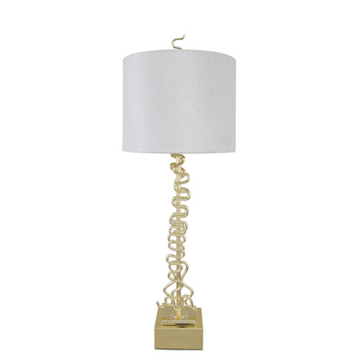Gold Squiggle Table Lamp With 14 Inch White Crocodile Velvet